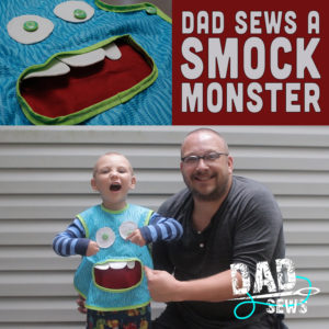Dad Sews A Smock Monster (Kids Art Apron With Pocket)